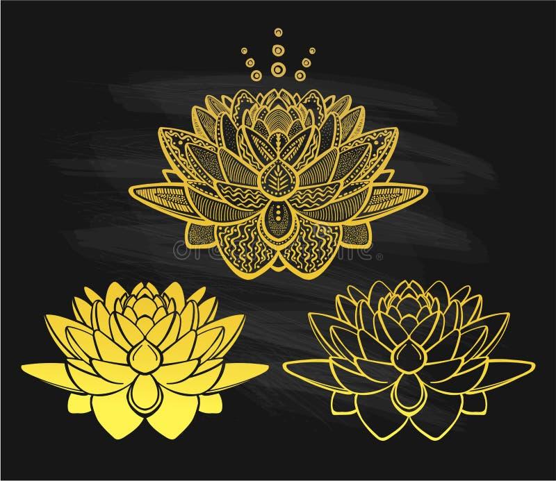Золотые цветки лотоса на доске иллюстрация штока