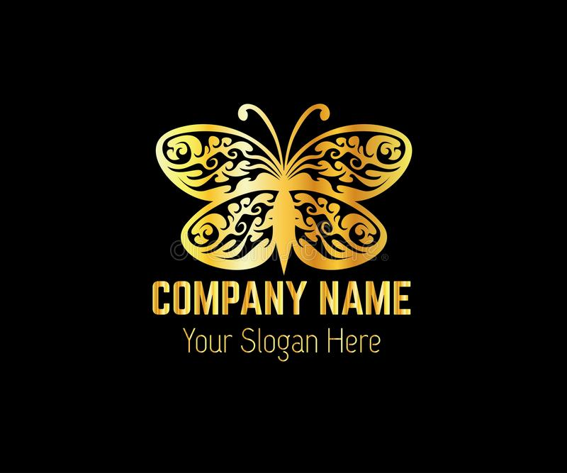 Золотые шаблоны логотипа бабочек иллюстрация штока