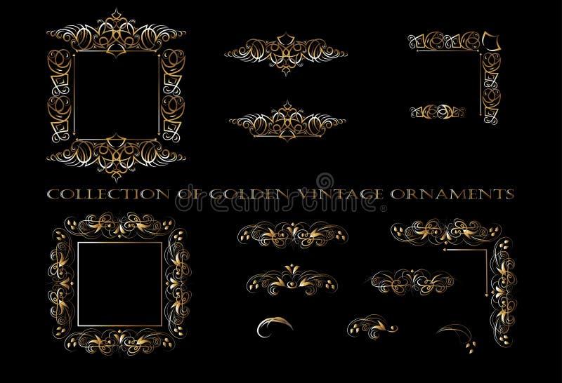 Золотые элементы орнамента на черной предпосылке для дизайна карт приветствию и приглашению иллюстрация штока
