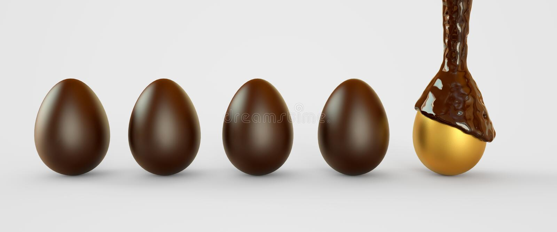 Золотые яйца в шоколаде Пасхальные яйца 3d закрепляя легкую редактируя иллюстрацию архива включило перевод путя бесплатная иллюстрация