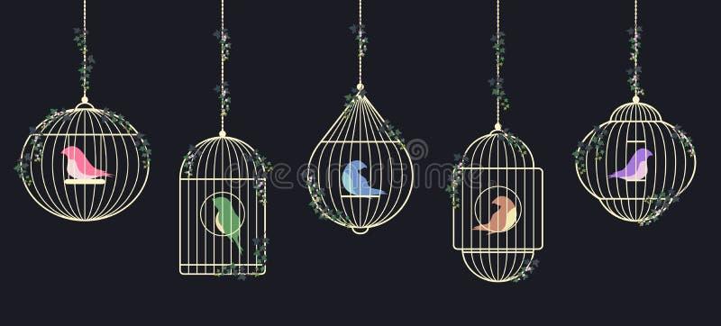 Золотые birdcages стоковое фото rf