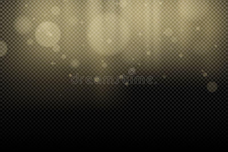 Золотые bokeh и лучи слепимостей освещают на прозрачной предпосылке абстрактная конструкция предпосылки ваша Световой эффект для  иллюстрация штока