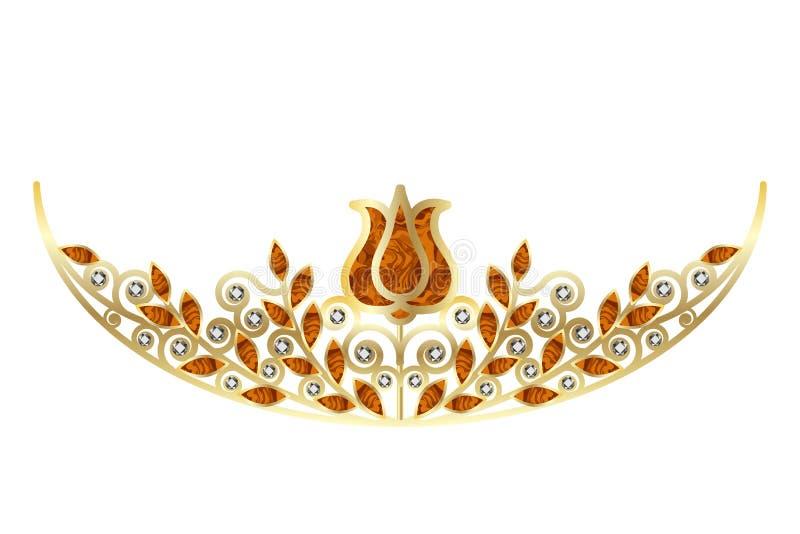 Золотые diadem или крона с диамантами и янтарь украшенный с цветочным узором иллюстрация вектора