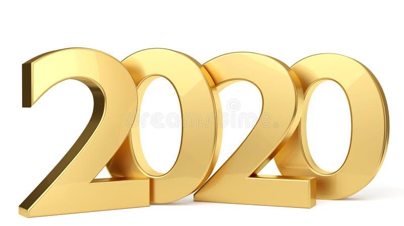 2020 золотых жирных букв 3d-illustration иллюстрация штока