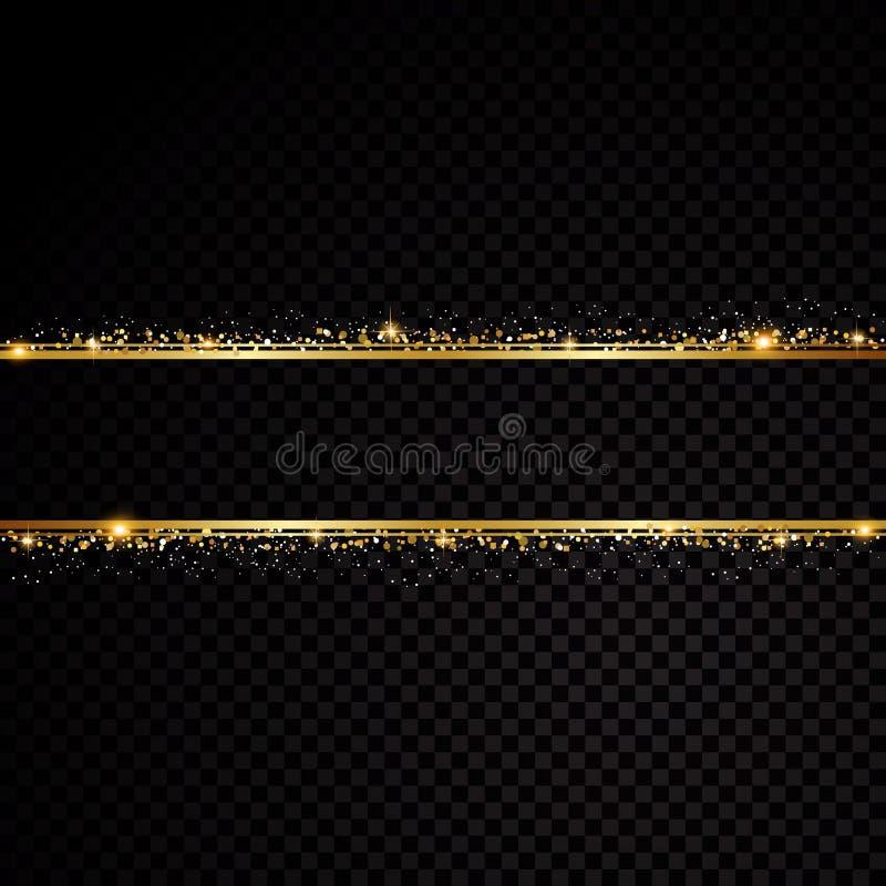 2 золотых линии с световыми эффектами Изолированный на черной прозрачной предпосылке также вектор иллюстрации притяжки corel иллюстрация вектора