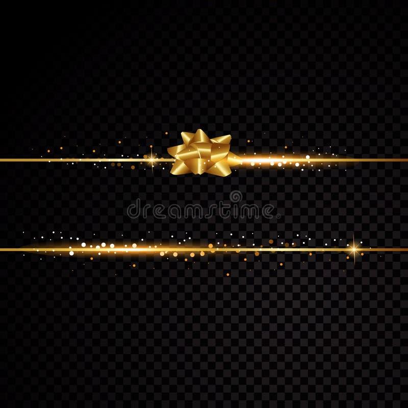 2 золотых линии с смычком и световыми эффектами Изолированный на черной прозрачной предпосылке также вектор иллюстрации притяжки  иллюстрация штока