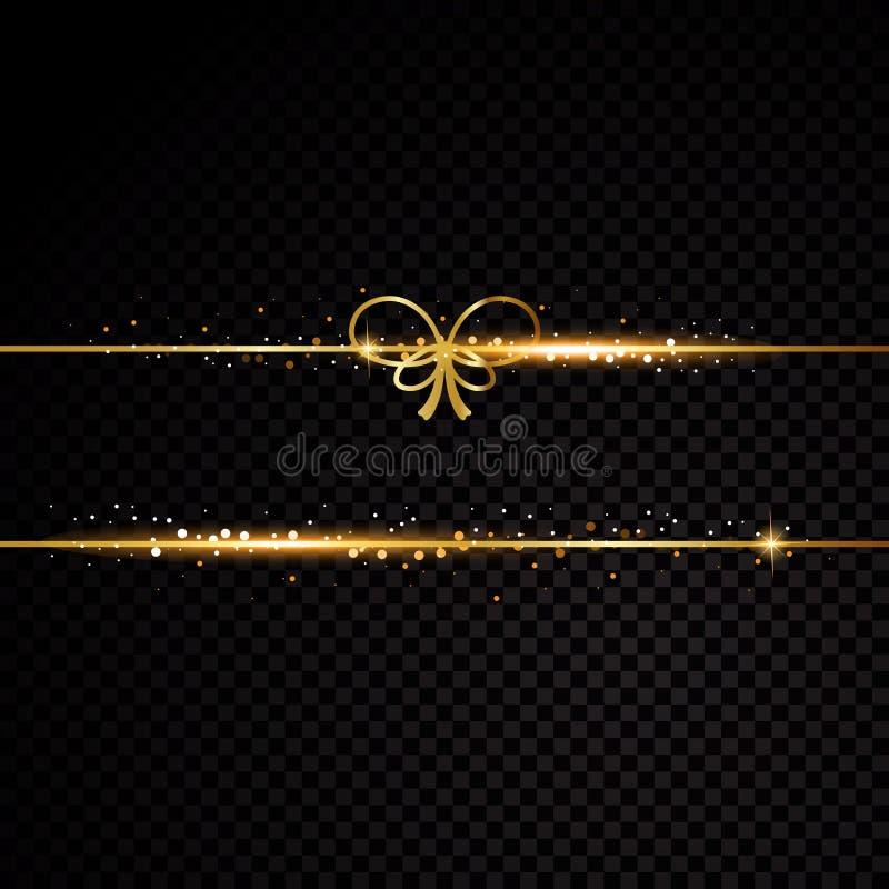 2 золотых линии с смычком и световыми эффектами на черной прозрачной предпосылке также вектор иллюстрации притяжки corel иллюстрация штока