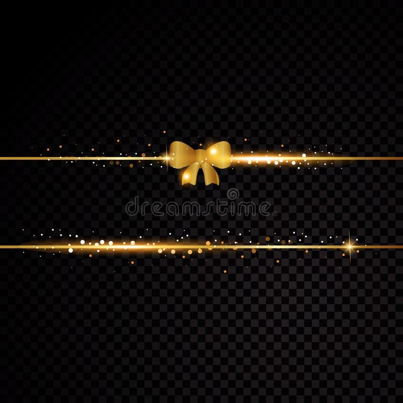 2 золотых линии с смычком и световыми эффектами иллюстрация штока