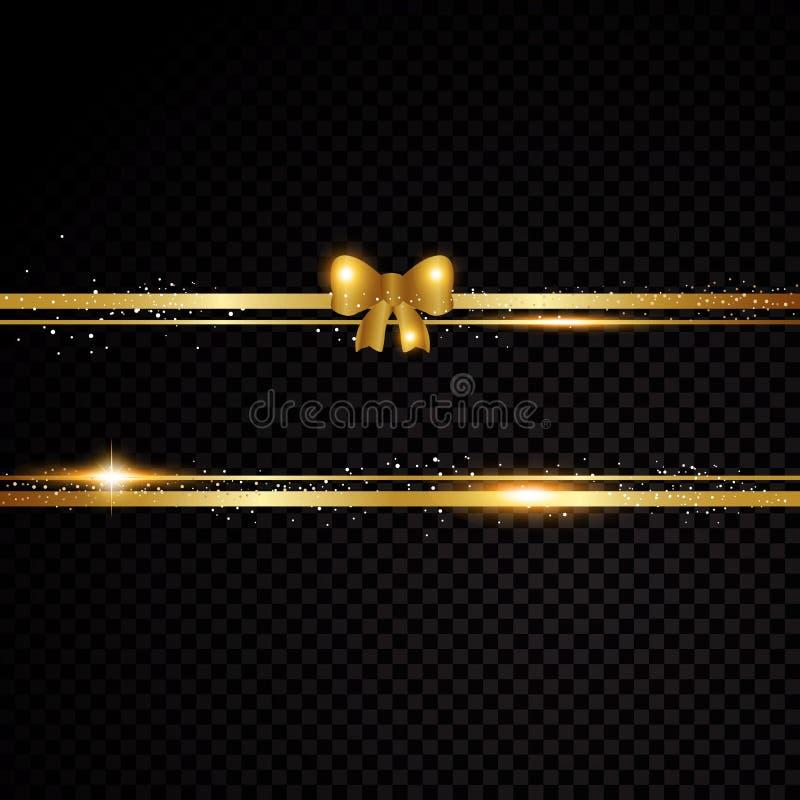 2 золотых линии с смычком и световыми эффектами иллюстрация вектора