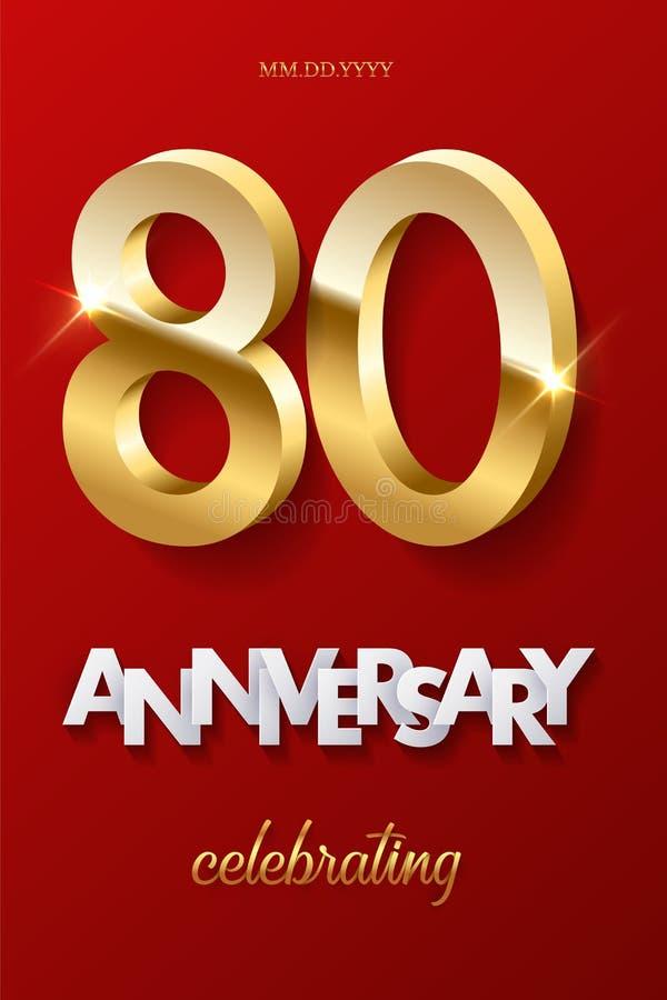80 золотых номеров и годовщина празднуя текст на красной предпосылке Торжество годовщины вектора вертикальное eightieth иллюстрация вектора