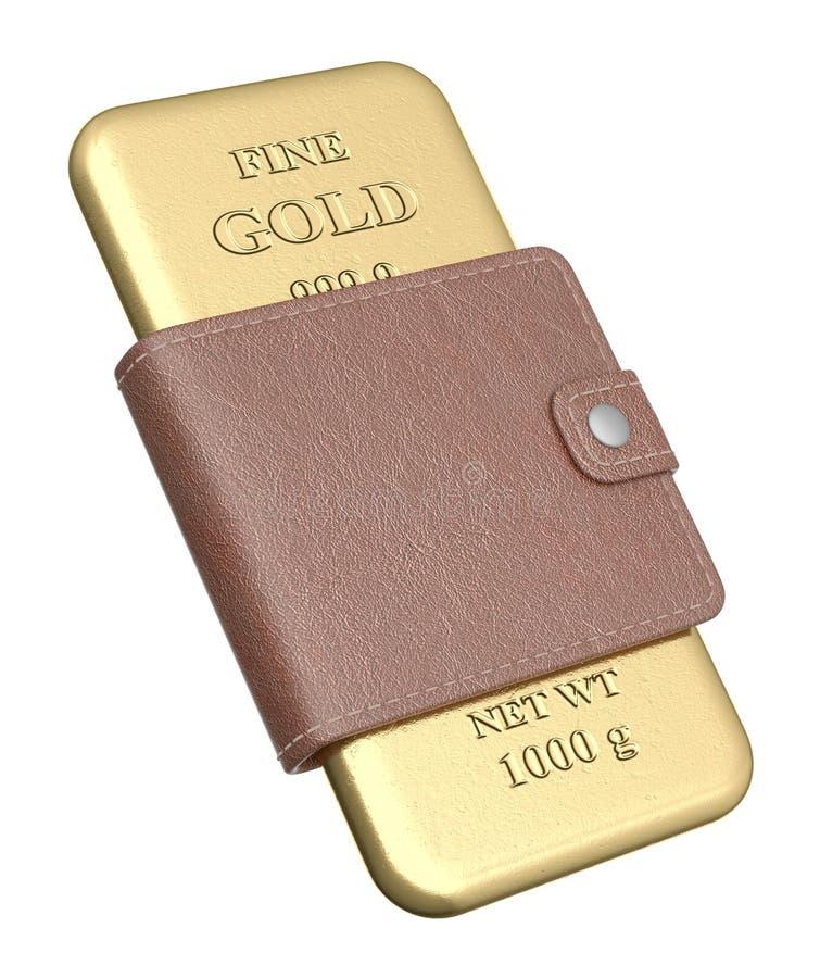 золот в слитках бумажник иллюстрация штока