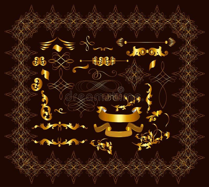 Золот-обрамленные каллиграфические декоративные элементы для роскошной конструкции иллюстрация штока