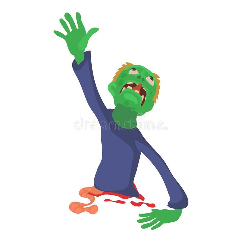 Зомби без значка нижней части тела, стиля шаржа иллюстрация штока