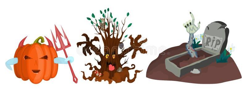 Зомби дерева тыквы чудовищ злой от могилы иллюстрация вектора