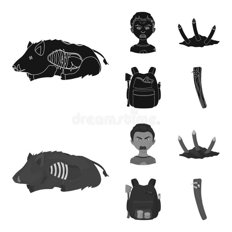 Зомби и атрибуты чернят, значки monochrom в собрании комплекта для дизайна Мертвая иллюстрация сети запаса символа вектора челове иллюстрация вектора