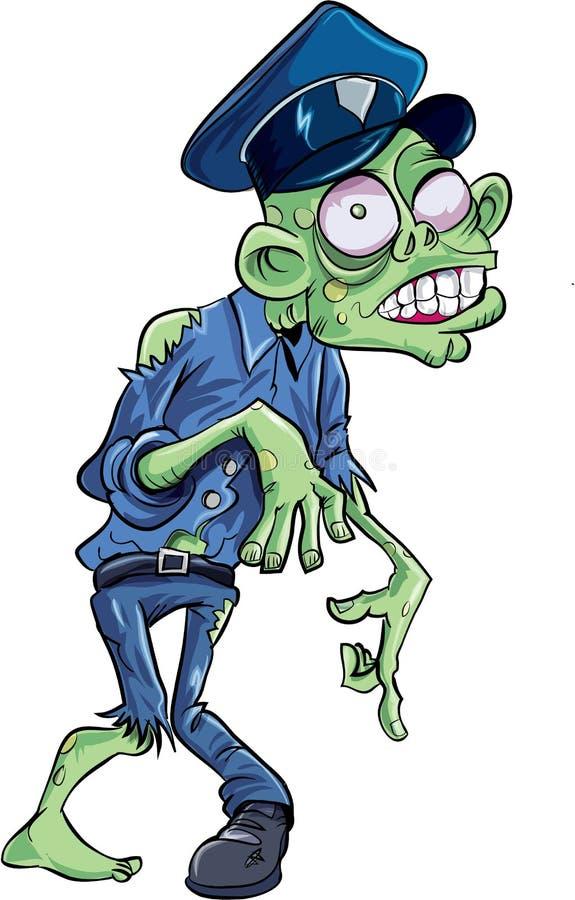 Зомби полицейския шаржа иллюстрация вектора