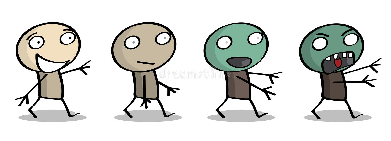 зомби преобразования иллюстрация штока
