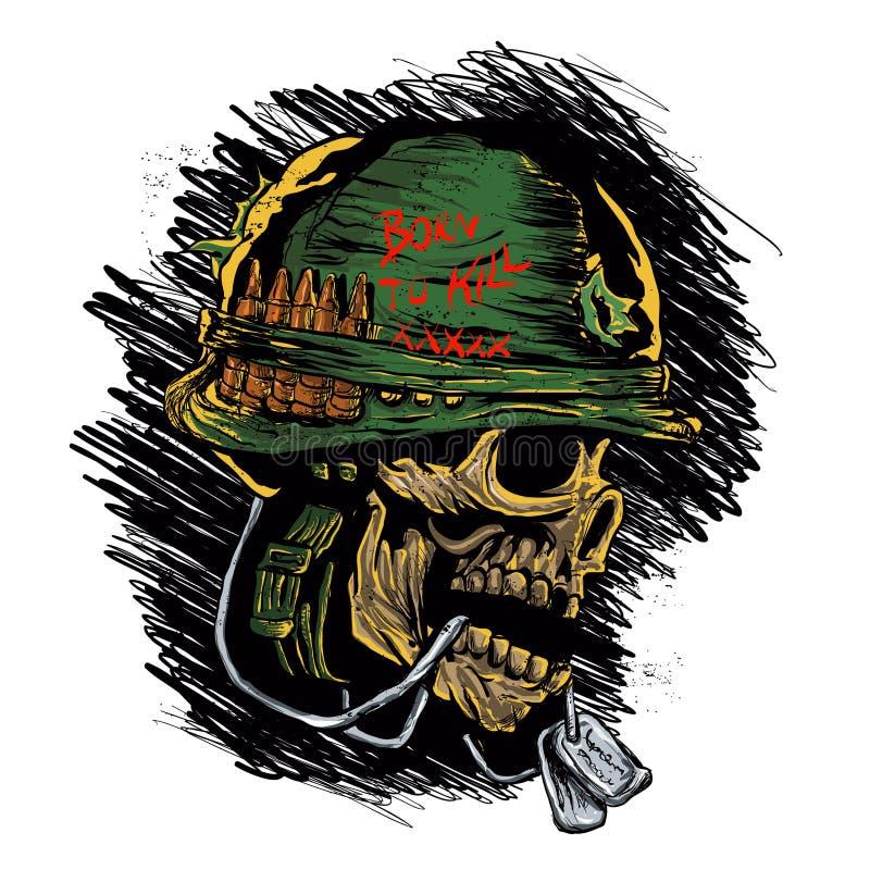 Зомби с воинским шлемом иллюстрация вектора