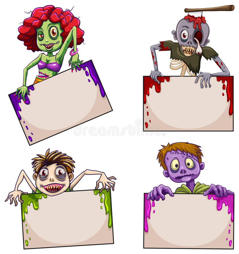 Зомби с пустыми шильдиками иллюстрация штока