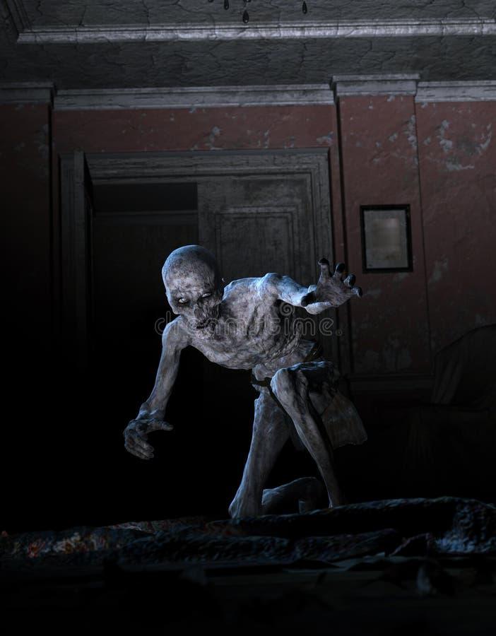 зомби ужаса 3D в преследовать доме иллюстрация штока