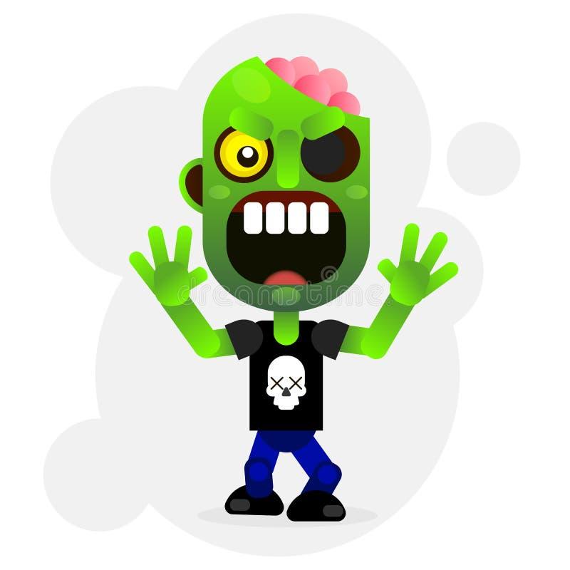 Зомби шаржа вектора смешное зеленое иллюстрация вектора