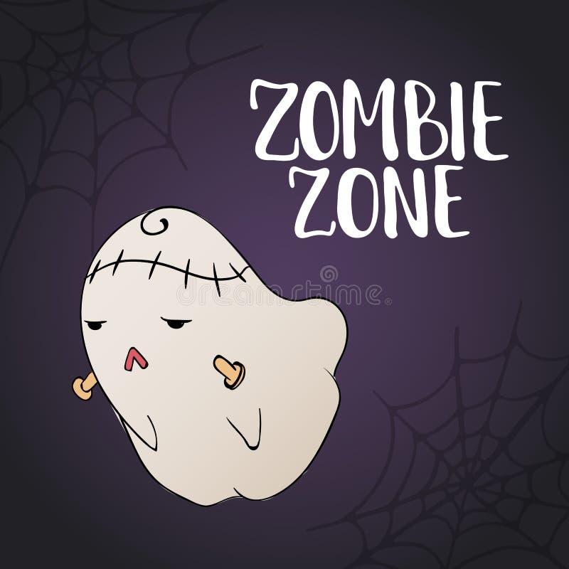 Зона зомби - литерность партии хеллоуина нарисованная рукой с извергом и сетью паука эскиза милыми стародедовские дети рисуя поте иллюстрация штока