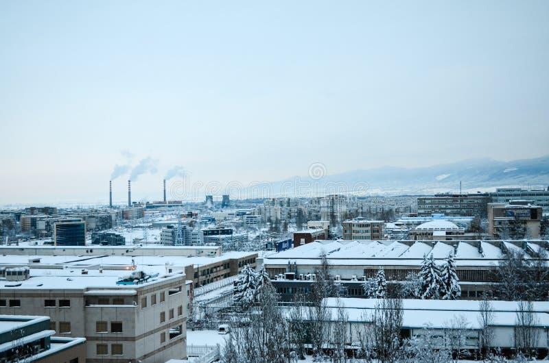 Зона индустрии на зиме стоковые изображения