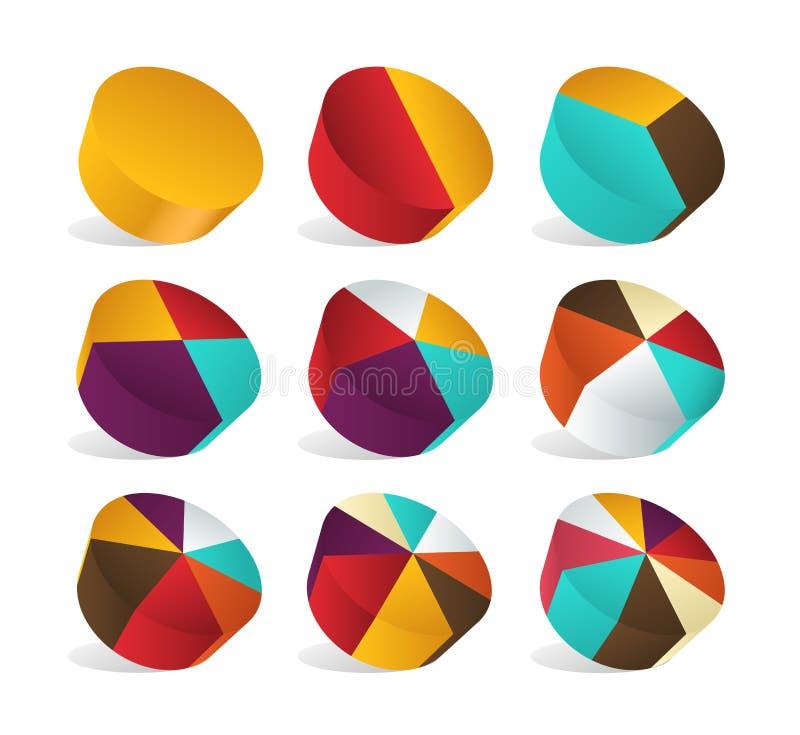 Зона куска долевой диограммы перспективы infographic пирог вектор иллюстрация штока