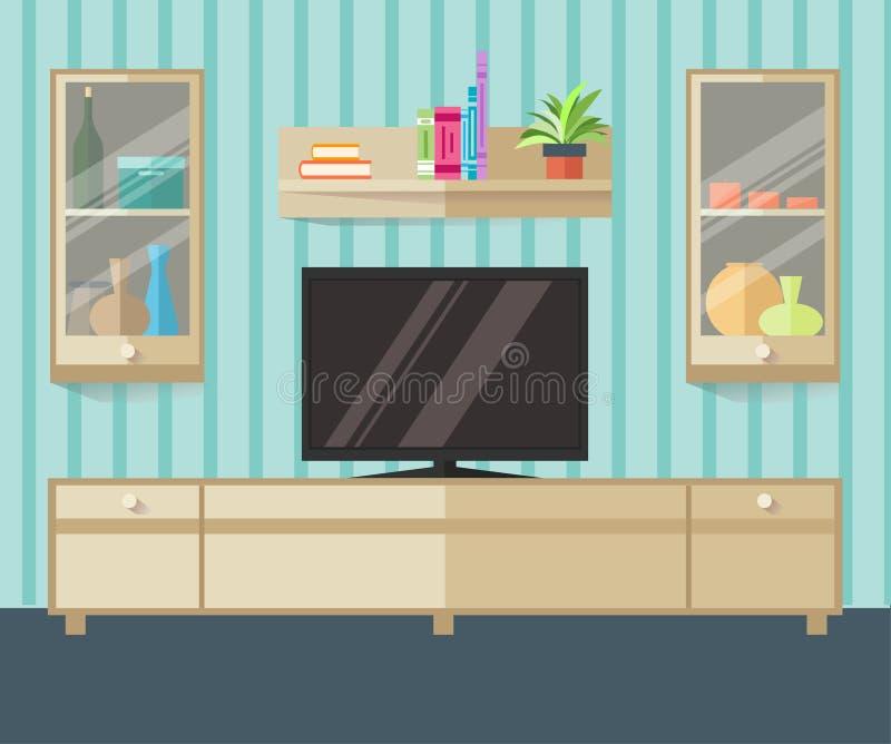Зона ТВ дизайна в плоском стиле Внутренняя живущая комната с мебелью, ТВ и полкой также вектор иллюстрации притяжки corel иллюстрация штока