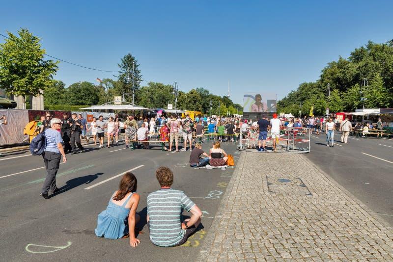 Зона футбольного болельщика в парке Tiergarten berlin Германия стоковые изображения