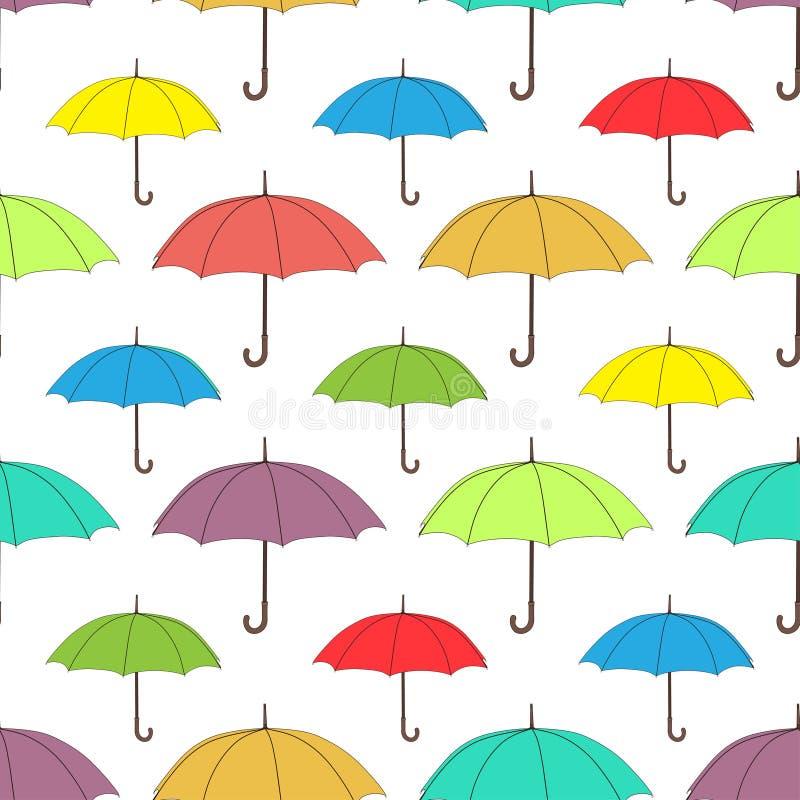 Зонтики безшовная картина, предпосылка вектора Пестротканые яркие зонтики на белой предпосылке, для дизайна обоев иллюстрация вектора