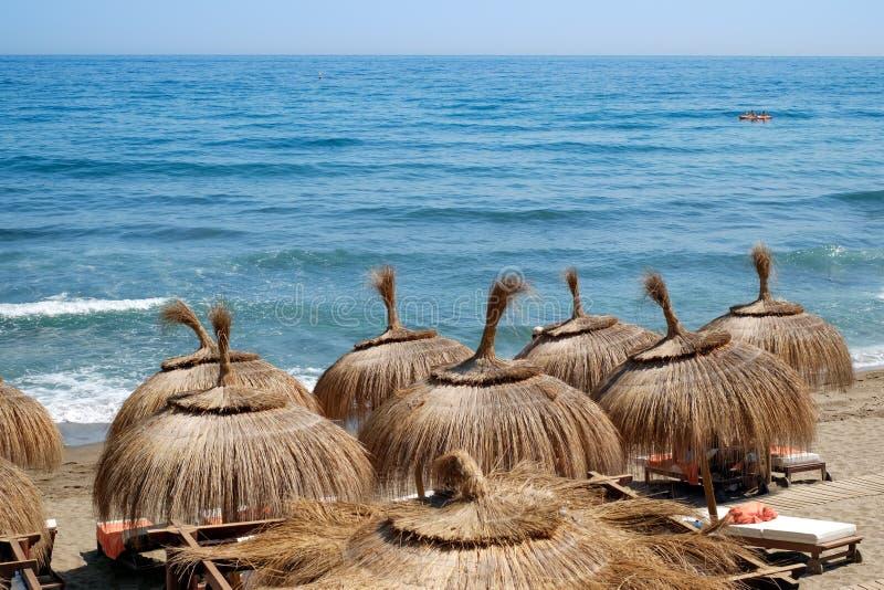 Зонтики и sunbeds соломы на пляже стоковая фотография