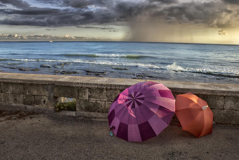 Зонтики морем стоковое изображение rf