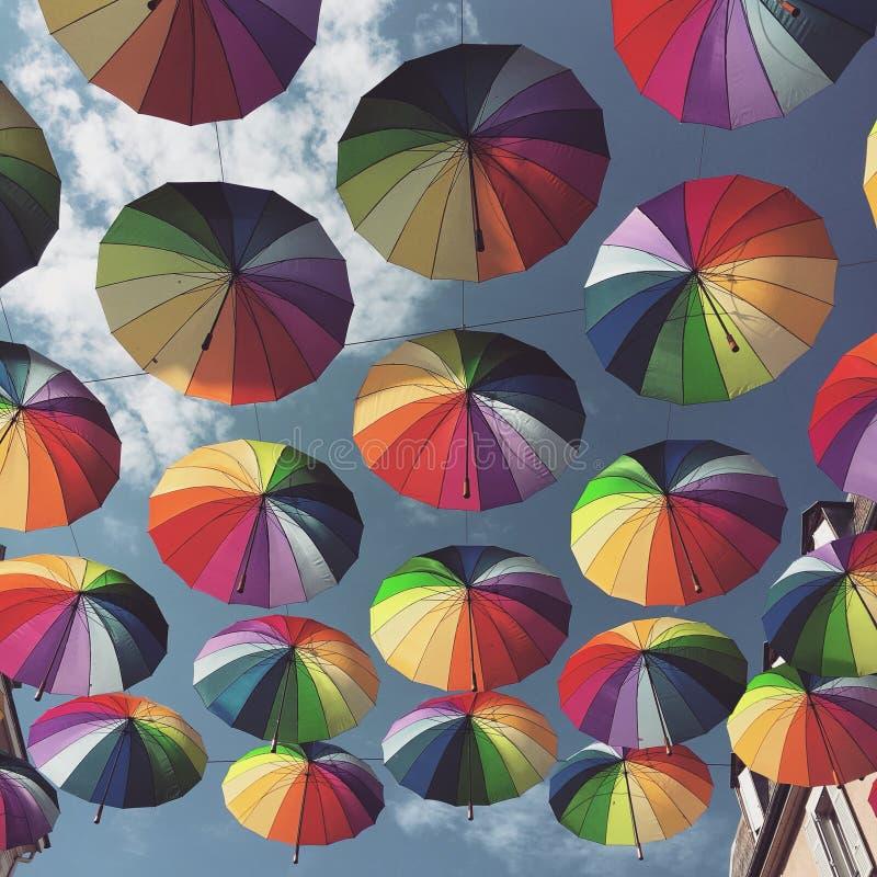 Зонтики радуги стоковое фото rf
