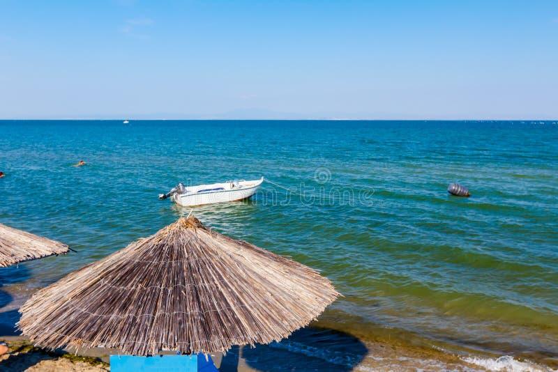 Зонтики с loungers, фаэтоном помещены рядом с береговой линией стоковое изображение rf