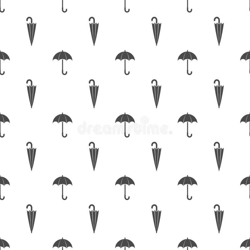 Зонтик Безшовная картина с открытым и закрытым зонтиком иллюстрация вектора