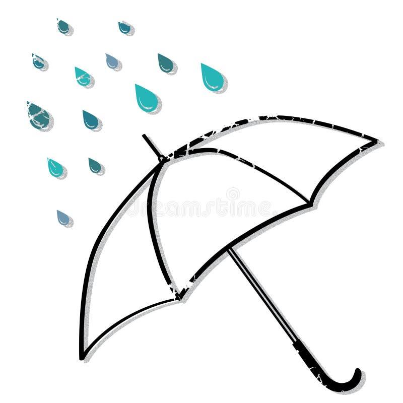 Зонтик в дожде бесплатная иллюстрация
