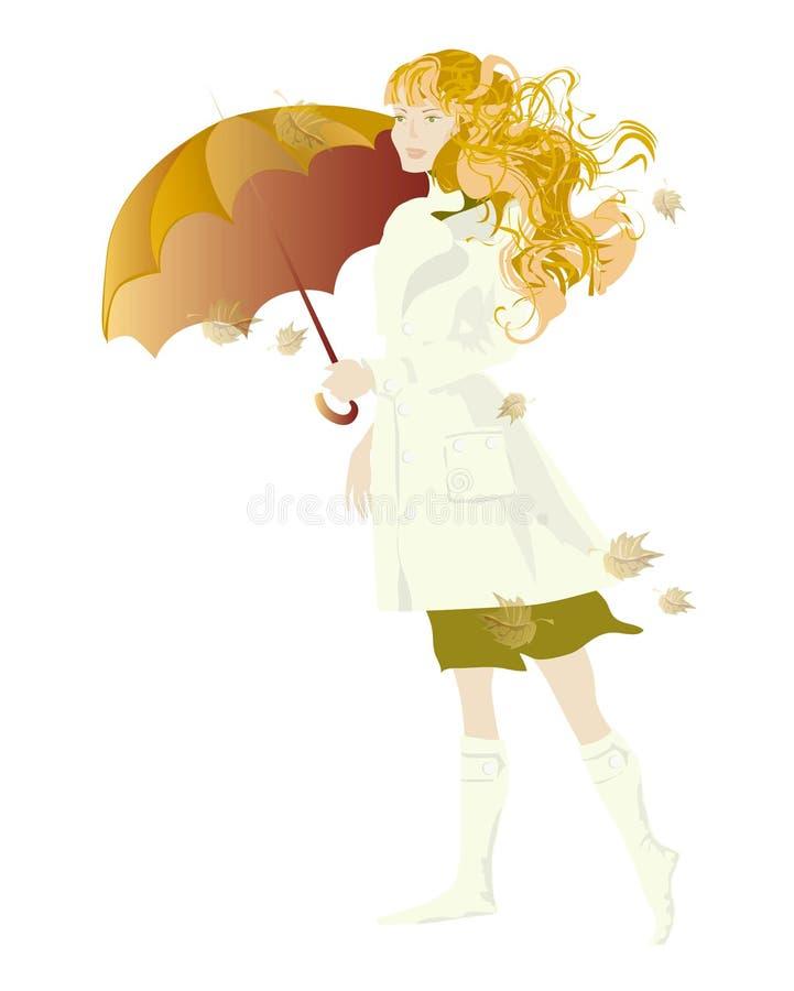 зонтик девушки иллюстрация вектора