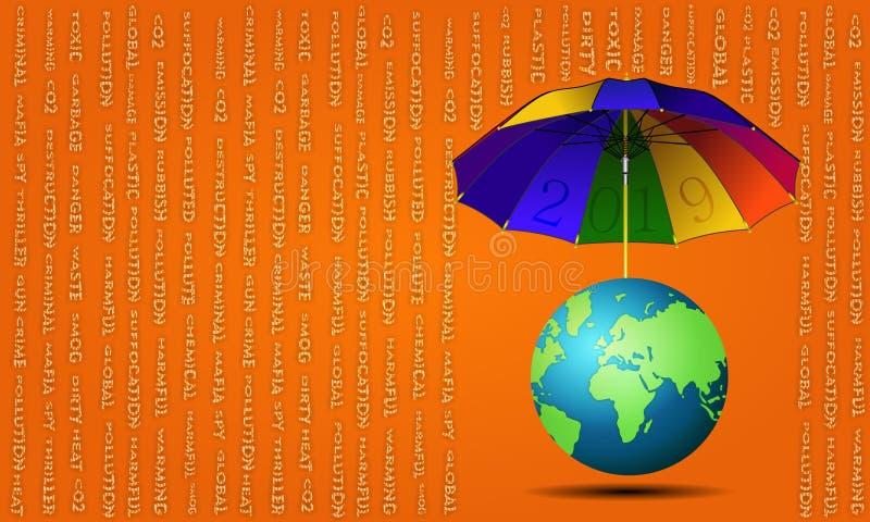 зонтик 2019 ` ` для земли иллюстрация вектора