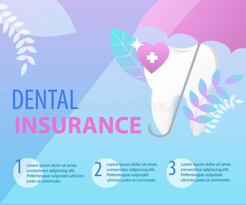 Зонтик защищает концепцию зубной страховки зуба иллюстрация штока