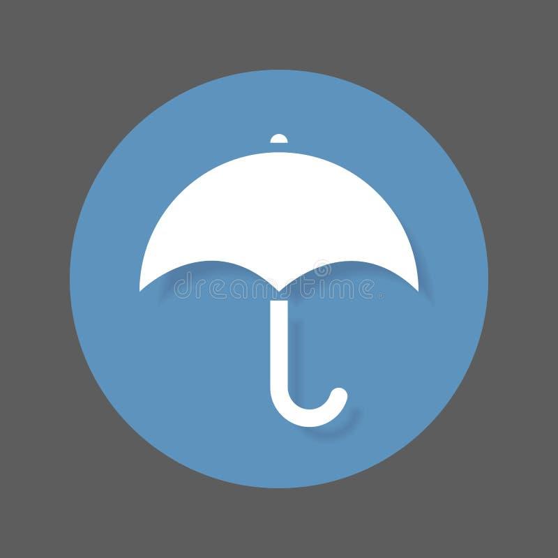 Зонтик, значок дождя плоский Круглая красочная кнопка, круговой знак вектора с влиянием тени иллюстрация штока
