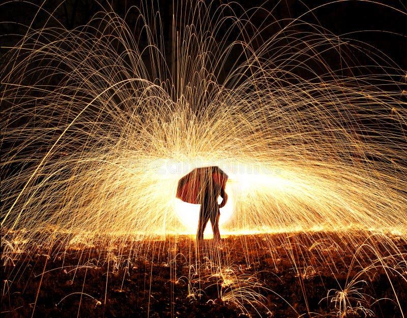Зонтик и огонь стоковое фото rf