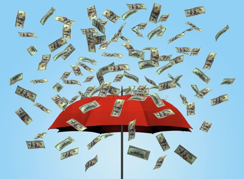 Зонтик и долларовые банкноты 3D иллюстрация вектора