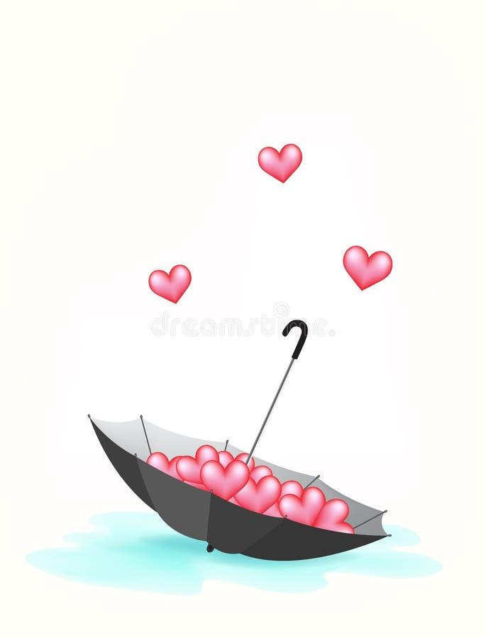 Зонтик и понижаясь влюбленность с лужицей воды бесплатная иллюстрация