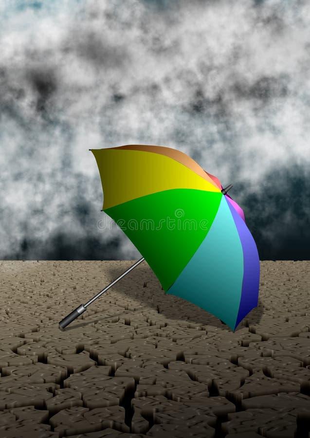 Зонтик и пустыня иллюстрация вектора