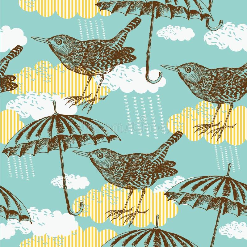 зонтик картины птицы иллюстрация штока