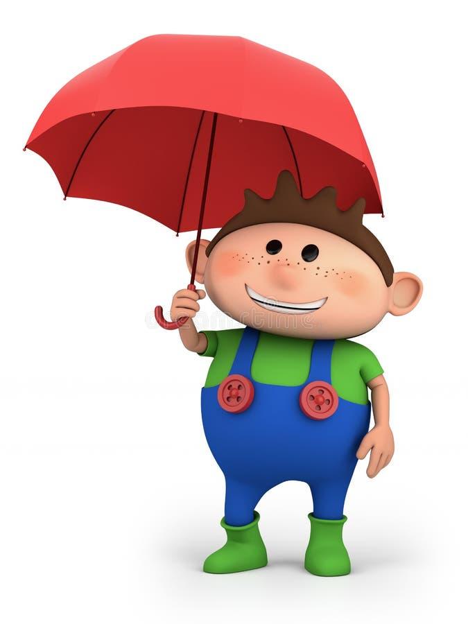 зонтик мальчика иллюстрация вектора