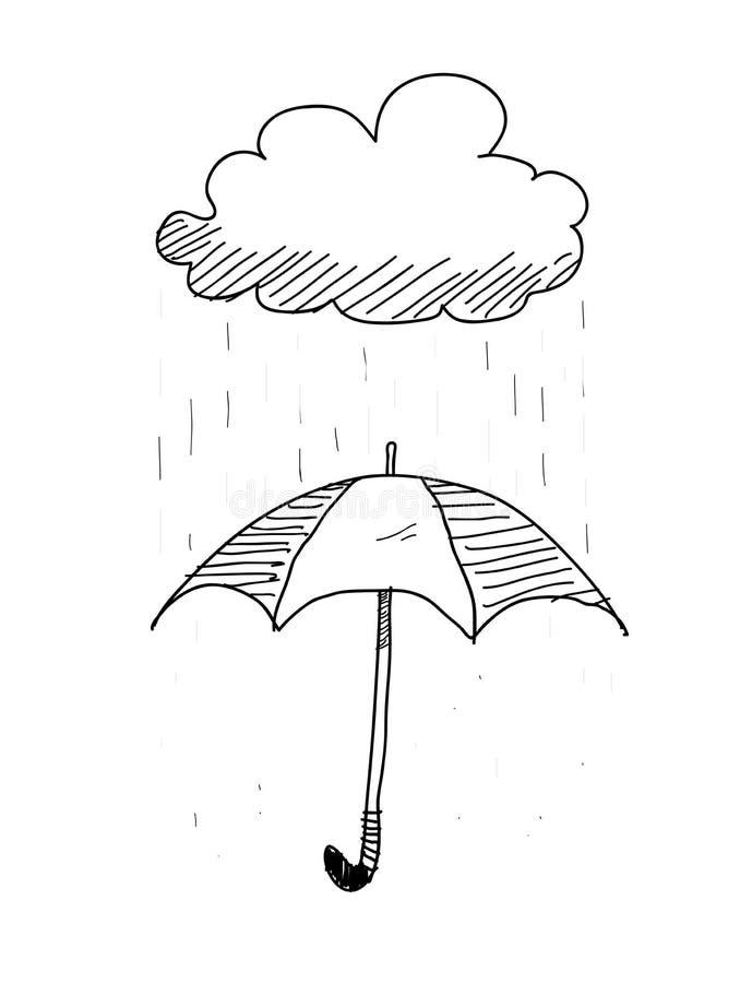 Зонтик на Doodle дождливого дня бесплатная иллюстрация
