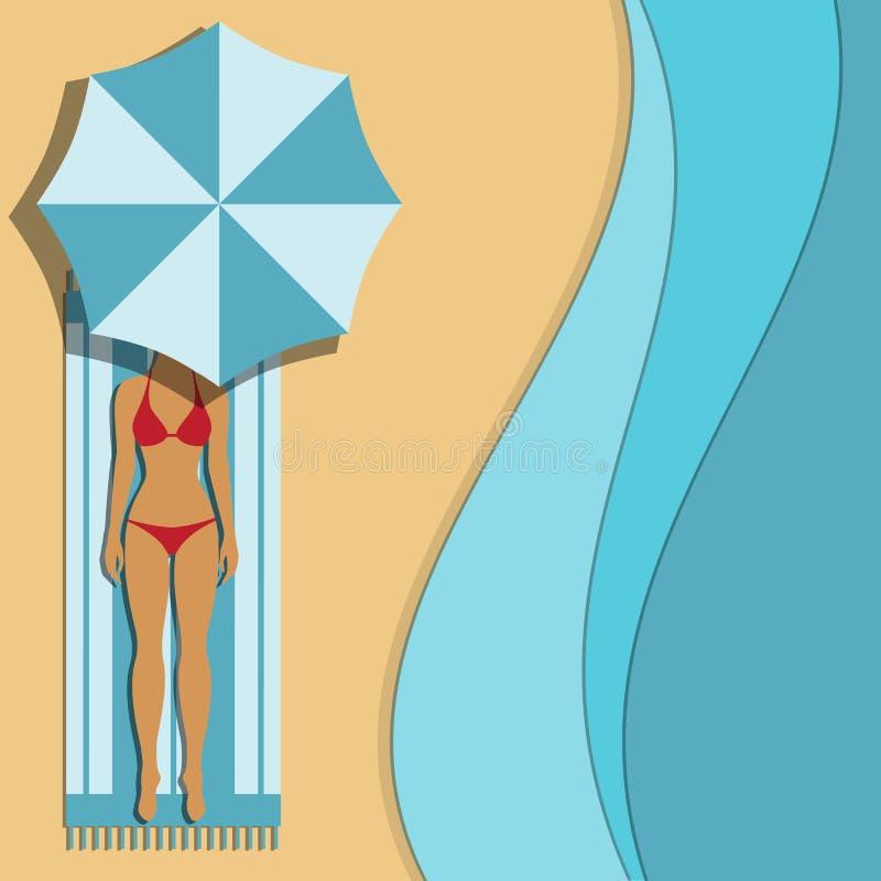 зонтик под женщиной бесплатная иллюстрация