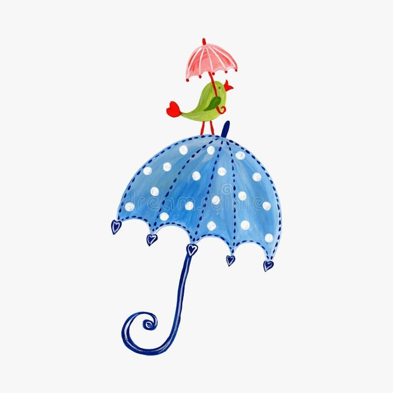 зонтик птицы иллюстрация вектора